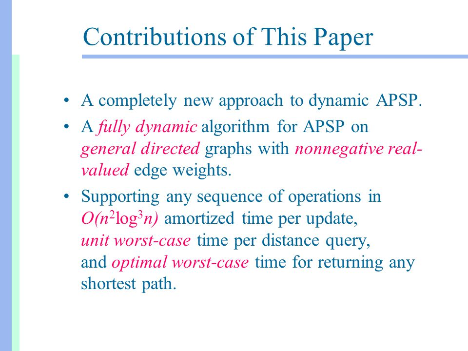 Contributions of This Paper A completely new approach to dynamic APSP. A fully dynamic algorithm for APSP on general directed graphs with nonnegative