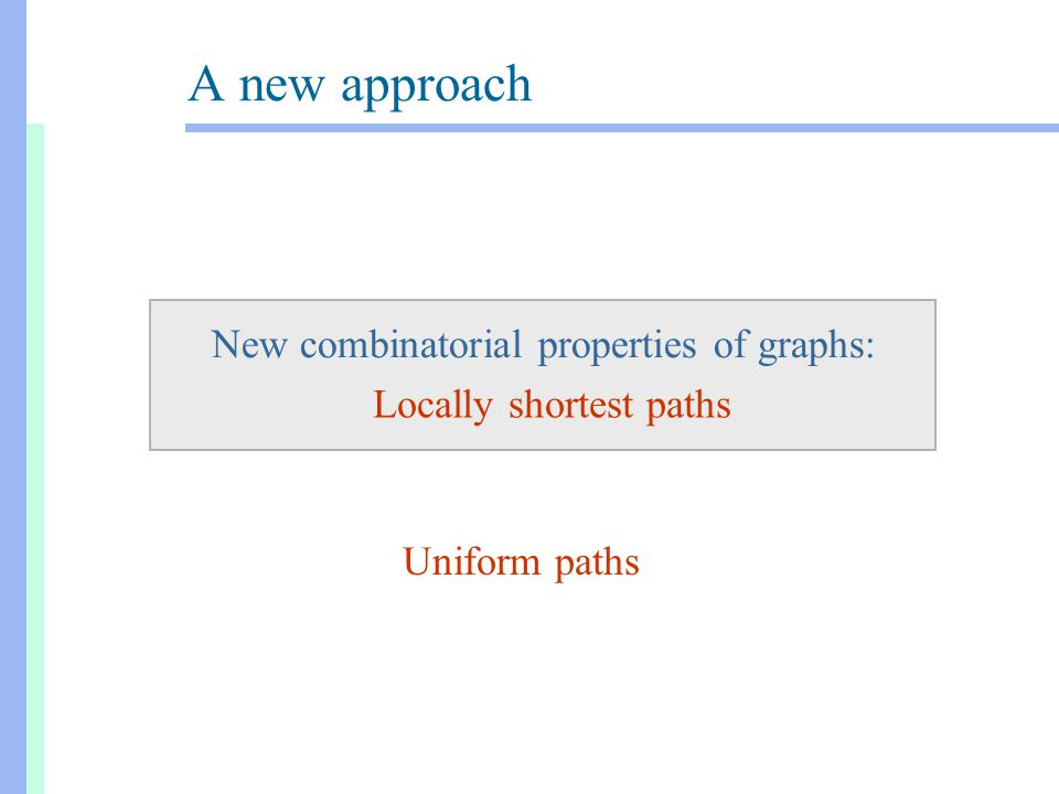 A new approach New combinatorial properties of graphs: Locally shortest paths Uniform paths