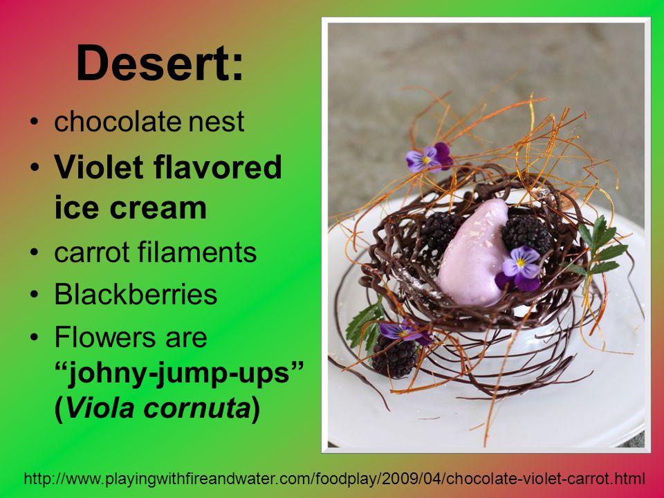 "Desert: chocolate nest Violet flavored ice cream carrot filaments Blackberries Flowers are ""johny-jump-ups"" (Viola cornuta) http://www.playingwithfire"