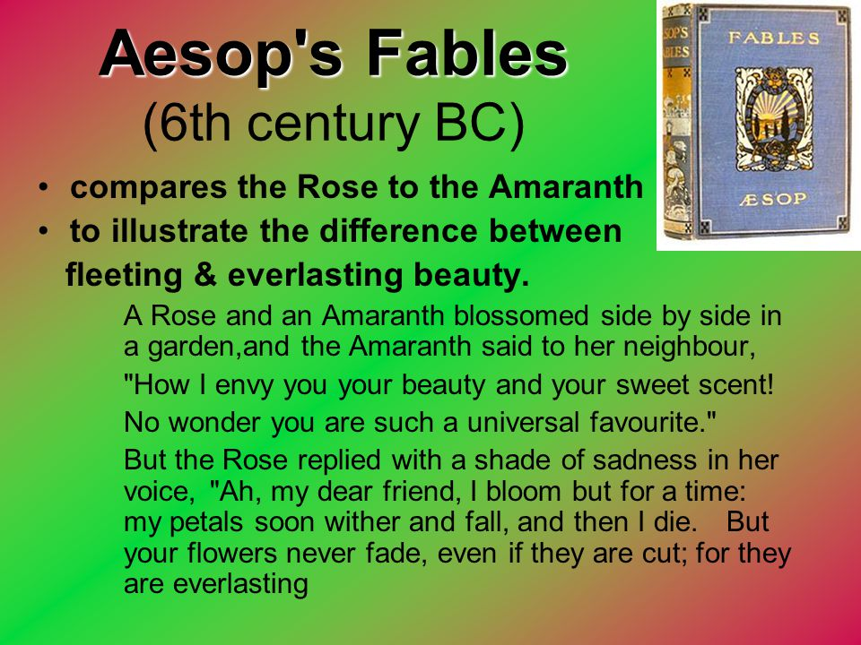 Aesop's Fables Aesop's Fables (6th century BC) compares the Rose to the Amaranth to illustrate the difference between fleeting & everlasting beauty. A