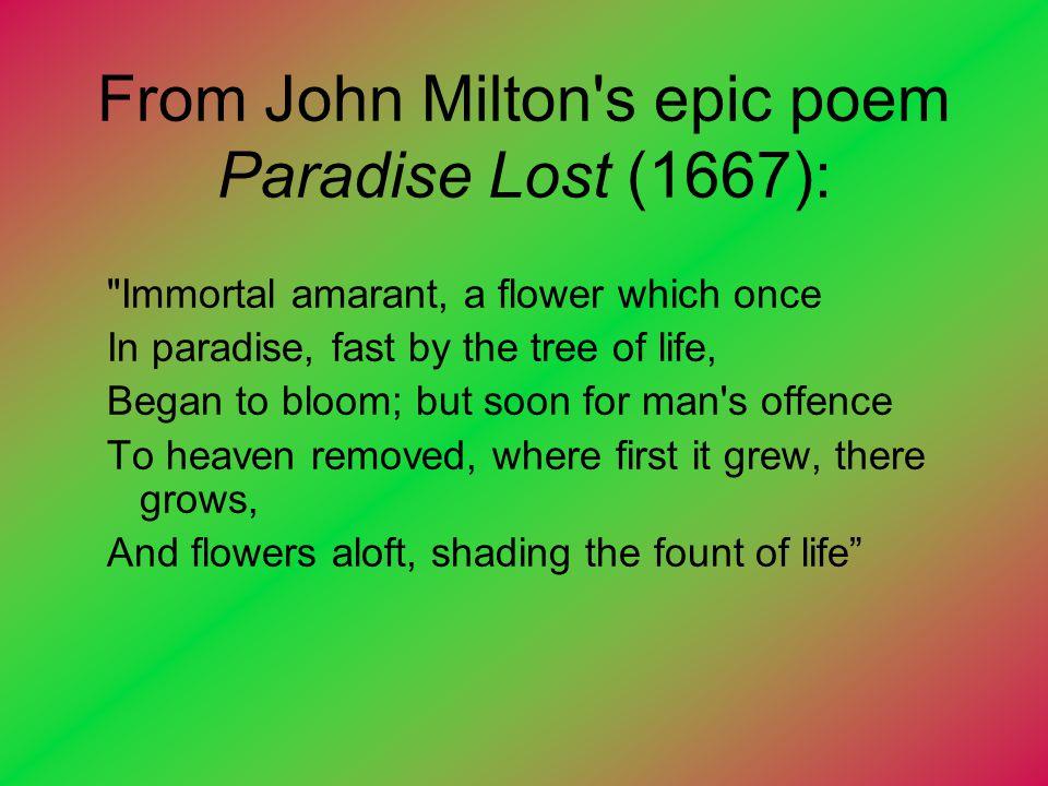 From John Milton's epic poem Paradise Lost (1667):