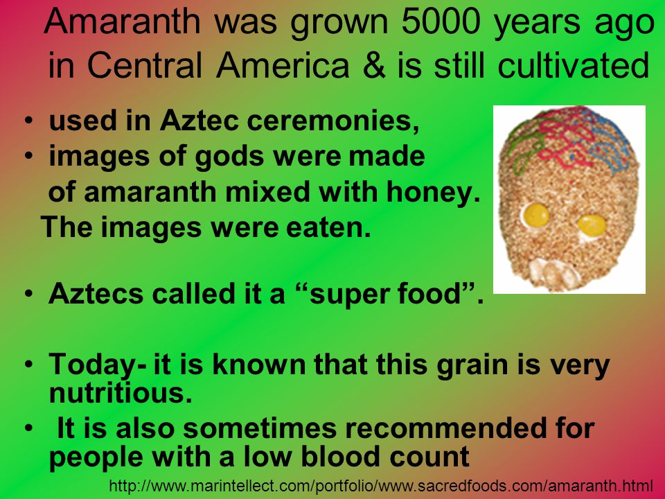 Amaranth was grown 5000 years ago in Central America & is still cultivated used in Aztec ceremonies, images of gods were made of amaranth mixed with h