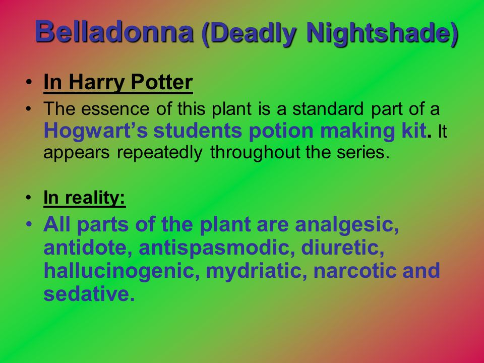 Belladonna (Deadly Nightshade) In Harry Potter The essence of this plant is a standard part of a Hogwart's students potion making kit. It appears repe
