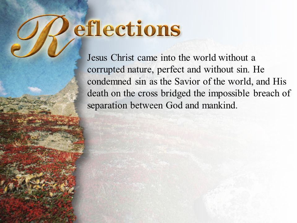Reflections Jesus Christ came into the world without a corrupted nature, perfect and without sin. He condemned sin as the Savior of the world, and His