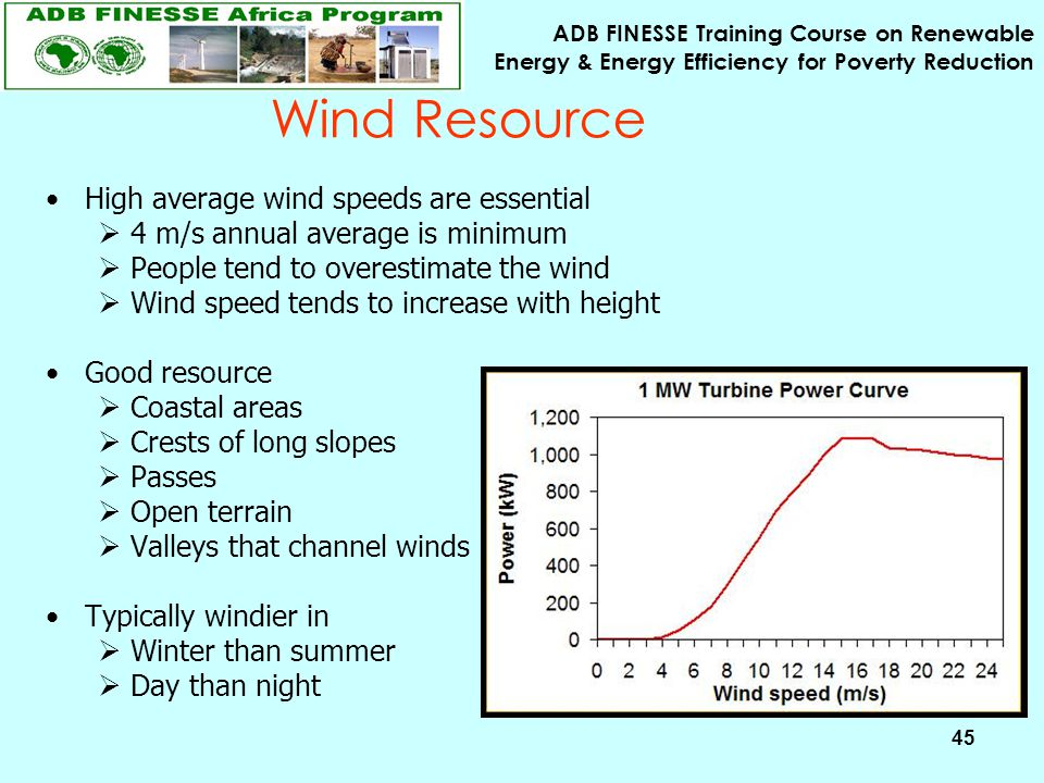 ADB FINESSE Training Course on Renewable Energy & Energy Efficiency for Poverty Reduction 45 High average wind speeds are essential  4 m/s annual ave