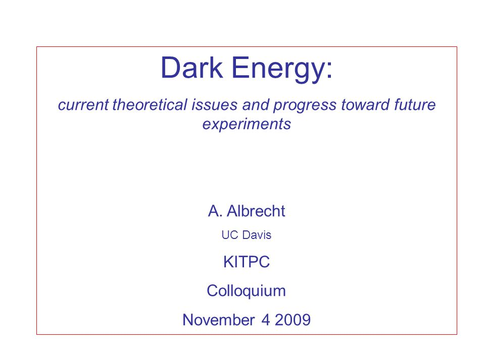Dark Energy: current theoretical issues and progress toward future experiments A.