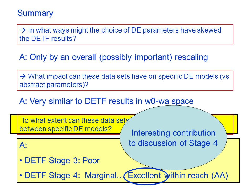 A: DETF Stage 3: Poor DETF Stage 4: Marginal… Excellent within reach (AA)  In what ways might the choice of DE parameters have skewed the DETF results.