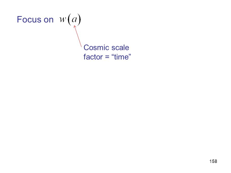 158 Focus on Cosmic scale factor = time
