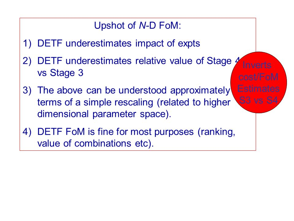 Upshot of N-D FoM: 1)DETF underestimates impact of expts 2)DETF underestimates relative value of Stage 4 vs Stage 3 3)The above can be understood approximately in terms of a simple rescaling (related to higher dimensional parameter space).