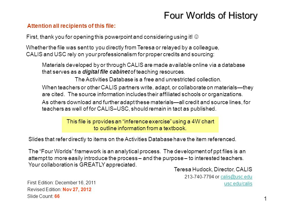 1 Four Worlds of History Materials developed by or through CALIS are made available online via a database that serves as a digital file cabinet of teaching resources.