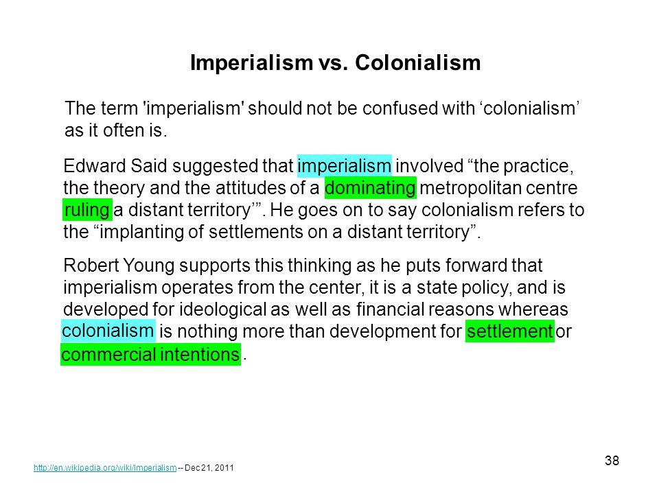 38 http://en.wikipedia.org/wiki/Imperialismhttp://en.wikipedia.org/wiki/Imperialism -- Dec 21, 2011 Imperialism vs.