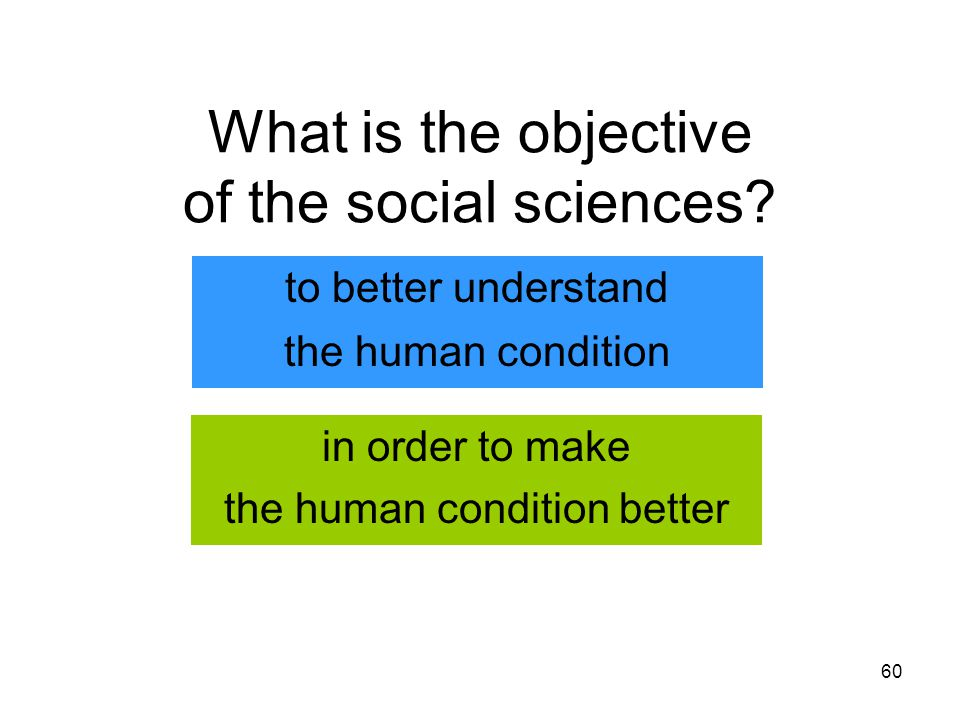 60 to better understand What is the objective of the social sciences.