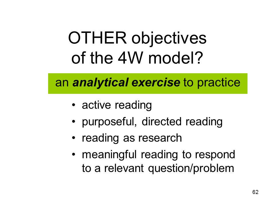 62 OTHER objectives of the 4W model.