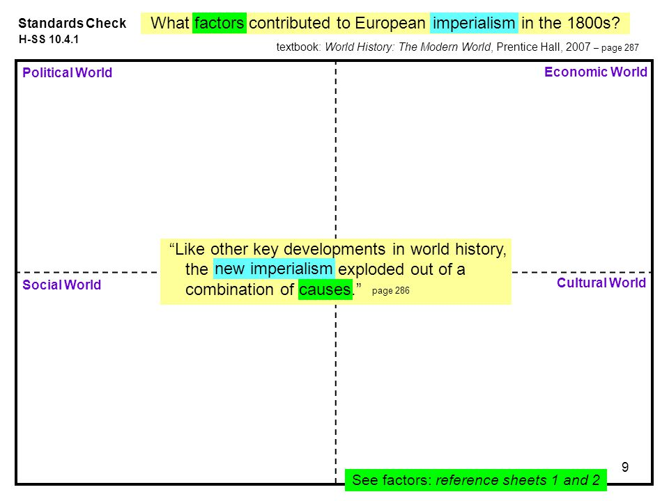 9 Political World Economic World Social World Standards Check Cultural World See factors: reference sheets 1 and 2 What factors contributed to European imperialism in the 1800s.