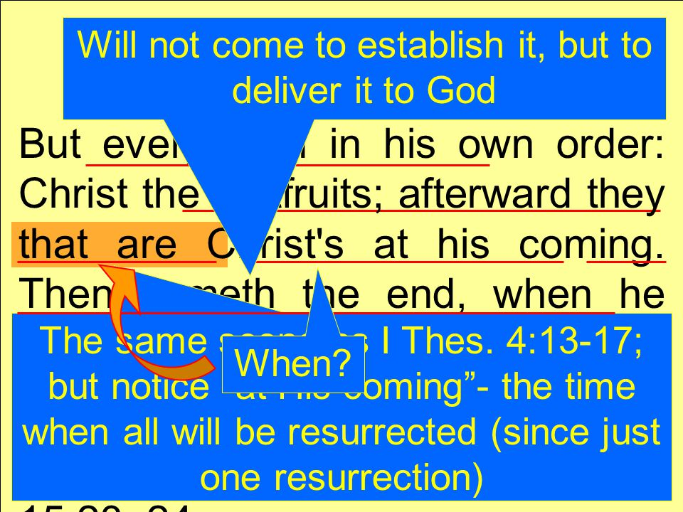 But every man in his own order: Christ the firstfruits; afterward they that are Christ s at his coming.