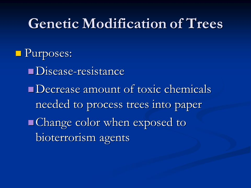 Genetic Modification of Trees Purposes: Purposes: Disease-resistance Disease-resistance Decrease amount of toxic chemicals needed to process trees into paper Decrease amount of toxic chemicals needed to process trees into paper Change color when exposed to bioterrorism agents Change color when exposed to bioterrorism agents