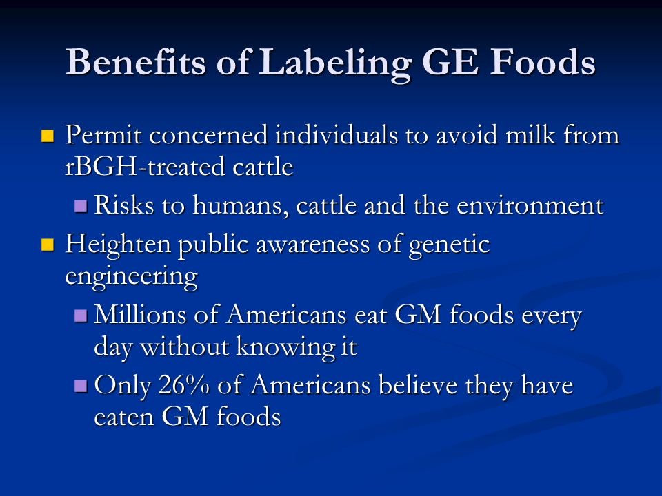 Benefits of Labeling GE Foods Permit concerned individuals to avoid milk from rBGH-treated cattle Permit concerned individuals to avoid milk from rBGH-treated cattle Risks to humans, cattle and the environment Risks to humans, cattle and the environment Heighten public awareness of genetic engineering Heighten public awareness of genetic engineering Millions of Americans eat GM foods every day without knowing it Millions of Americans eat GM foods every day without knowing it Only 26% of Americans believe they have eaten GM foods Only 26% of Americans believe they have eaten GM foods