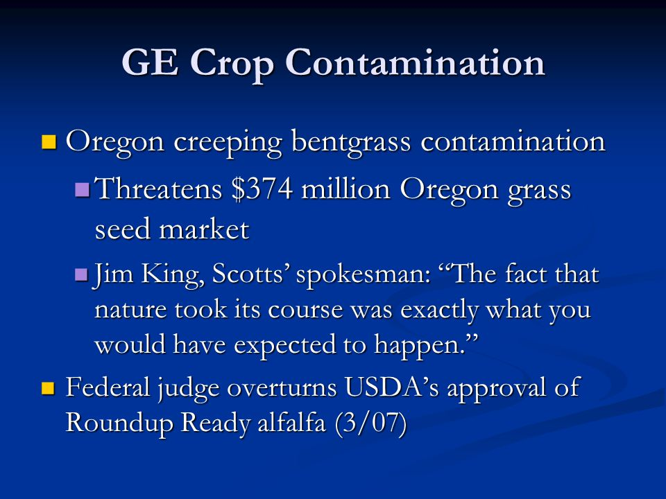 GE Crop Contamination Oregon creeping bentgrass contamination Oregon creeping bentgrass contamination Threatens $374 million Oregon grass seed market Threatens $374 million Oregon grass seed market Jim King, Scotts' spokesman: The fact that nature took its course was exactly what you would have expected to happen. Jim King, Scotts' spokesman: The fact that nature took its course was exactly what you would have expected to happen. Federal judge overturns USDA's approval of Roundup Ready alfalfa (3/07) Federal judge overturns USDA's approval of Roundup Ready alfalfa (3/07)