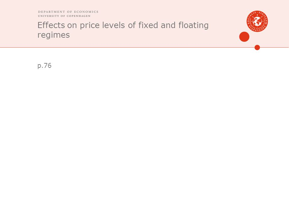 Effects on price levels of fixed and floating regimes p.76
