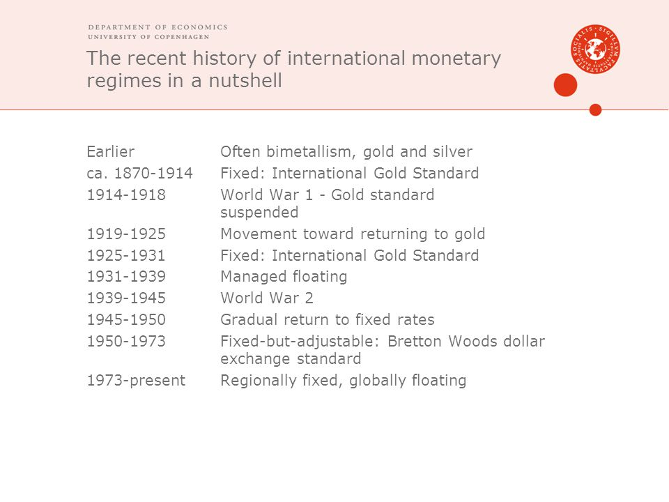 The recent history of international monetary regimes in a nutshell EarlierOften bimetallism, gold and silver ca. 1870-1914Fixed: International Gold St