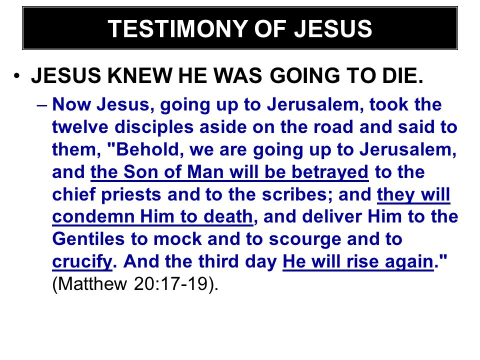 JESUS KNEW HE WAS GOING TO DIE. –Now Jesus, going up to Jerusalem, took the twelve disciples aside on the road and said to them,