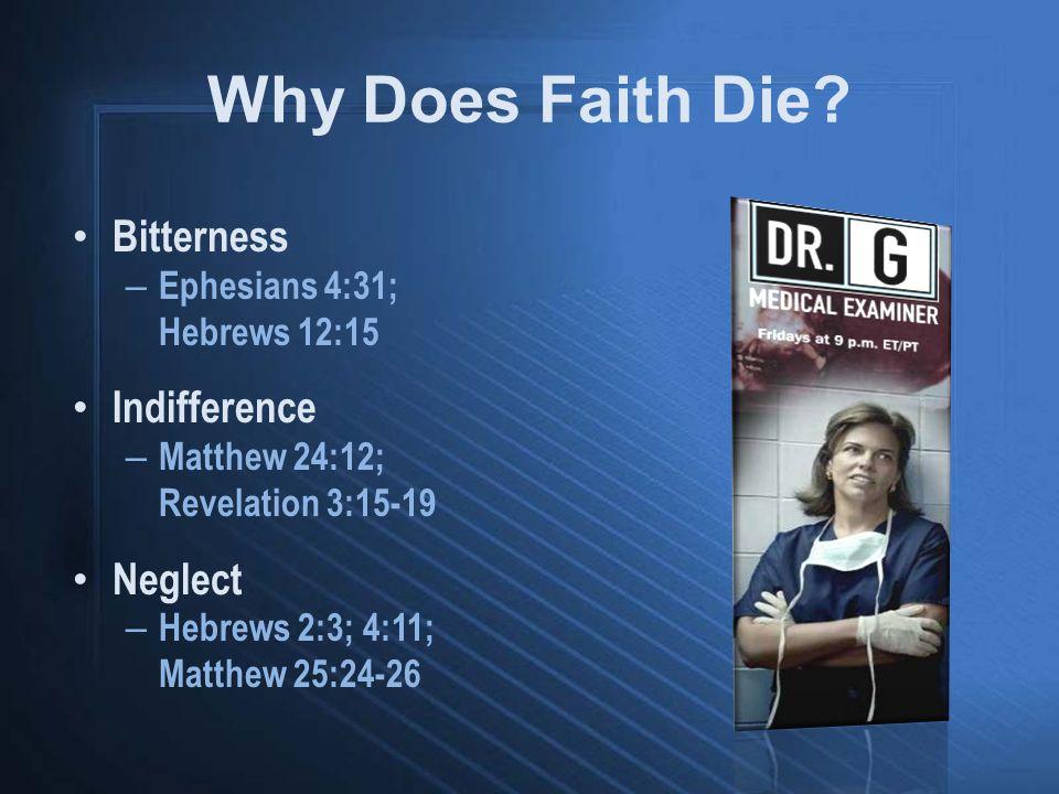 Bitterness – Ephesians 4:31; Hebrews 12:15 Indifference – Matthew 24:12; Revelation 3:15-19 Neglect – Hebrews 2:3; 4:11; Matthew 25:24-26 Why Does Fai