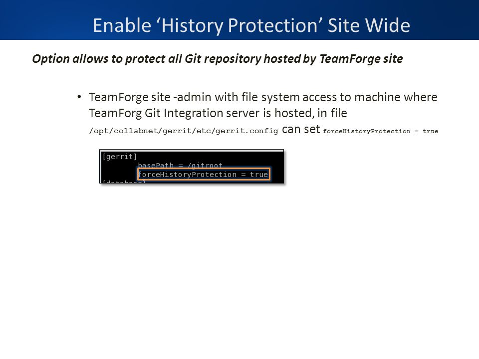 Option allows to protect all Git repository hosted by TeamForge site TeamForge site -admin with file system access to machine where TeamForg Git Integ