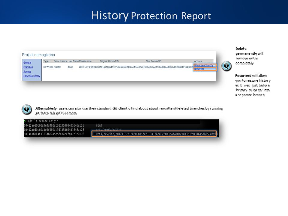 History Protection Report Delete permanently will remove entry completely Resurrect will allow you to restore history as it was just before 'history r