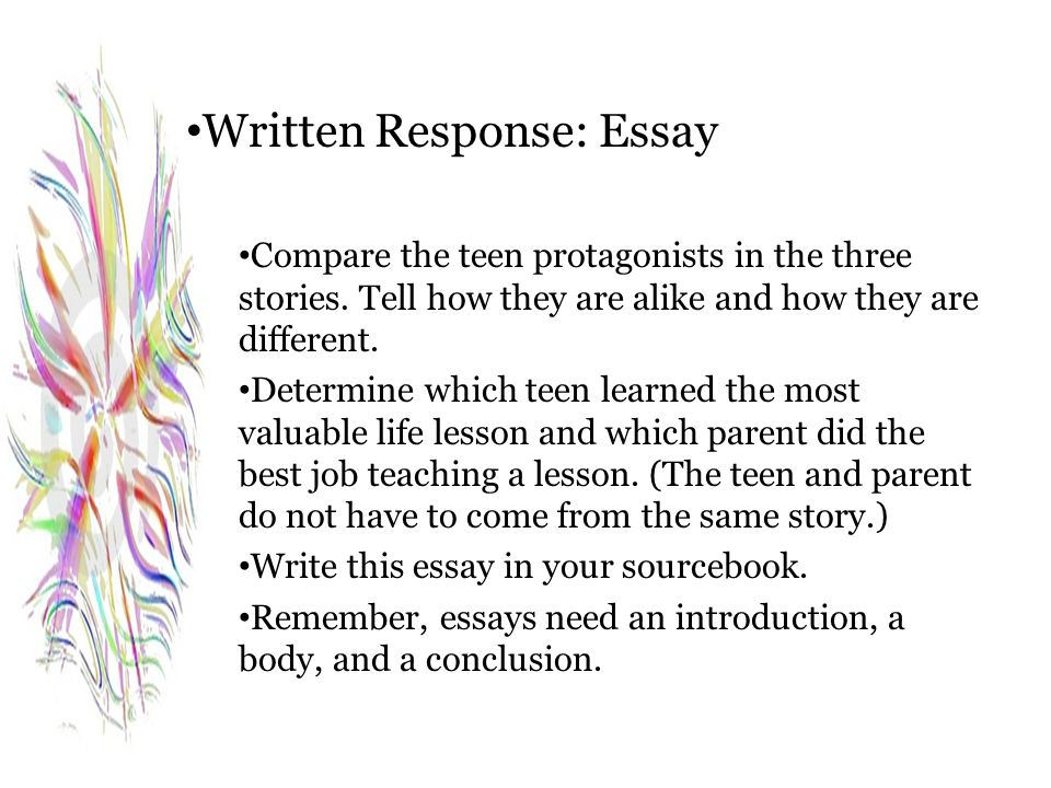 Written Response: Essay Compare the teen protagonists in the three stories. Tell how they are alike and how they are different. Determine which teen l