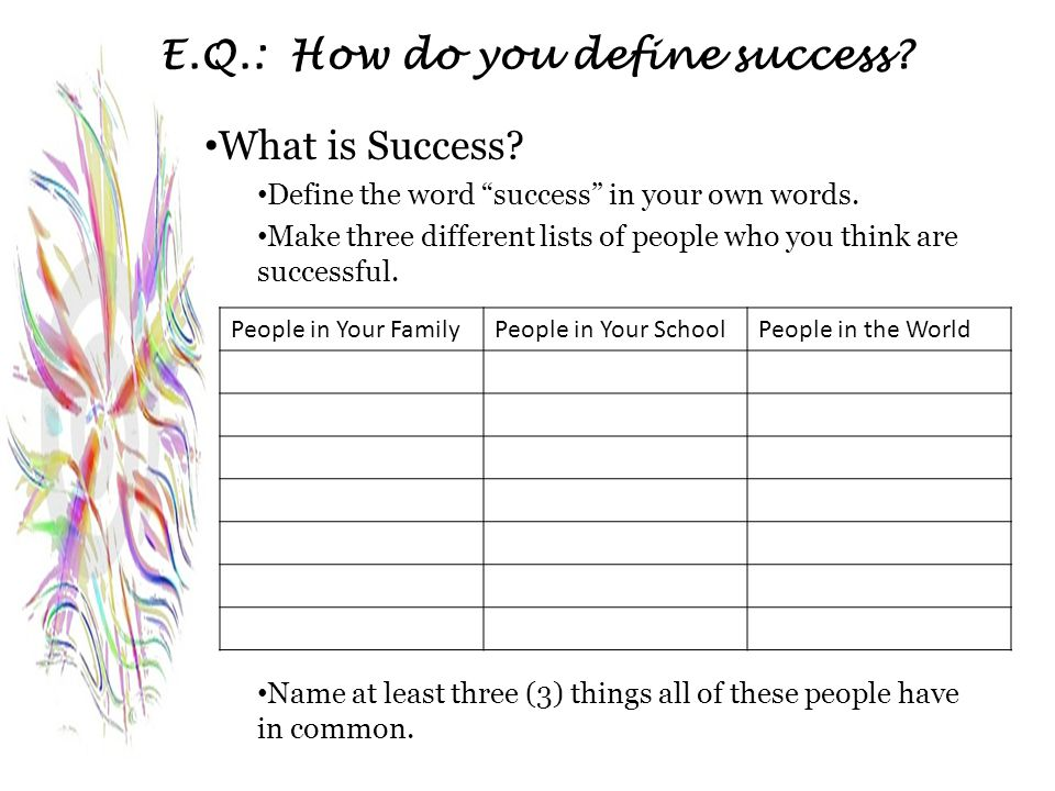 "E.Q.: How do you define success? What is Success? Define the word ""success"" in your own words. Make three different lists of people who you think are"
