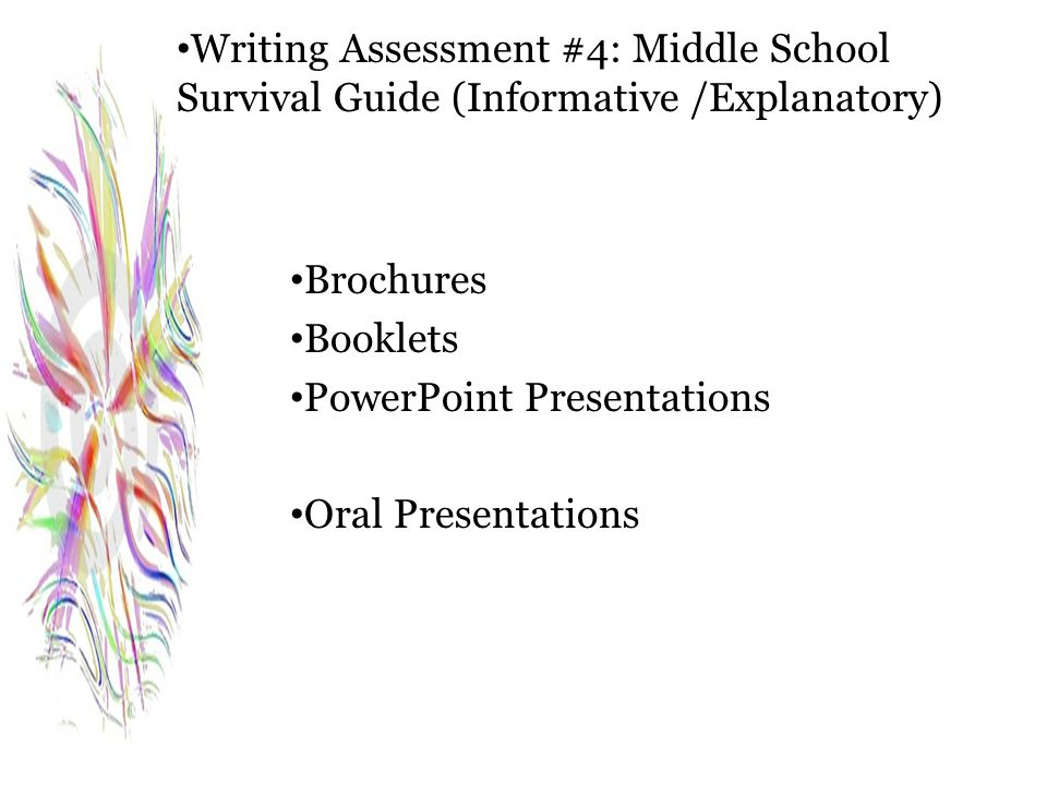 Writing Assessment #4: Middle School Survival Guide (Informative /Explanatory) Brochures Booklets PowerPoint Presentations Oral Presentations