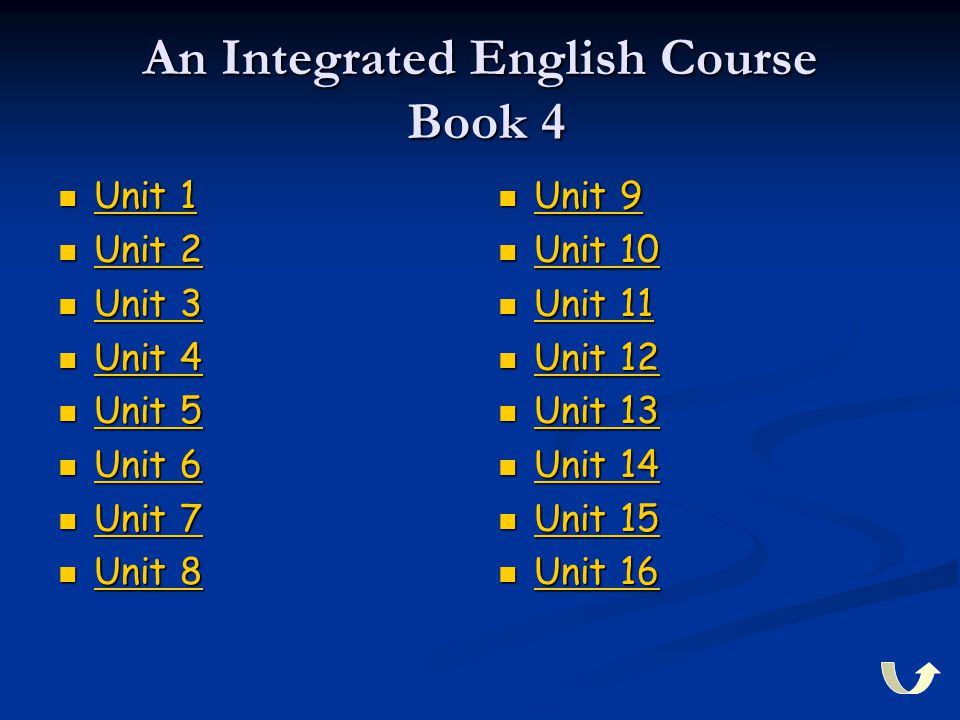 An Integrated English Course Book 4 Unit 1 Unit 1 Unit 1 Unit 1 Unit 2 Unit 2 Unit 2 Unit 2 Unit 3 Unit 3 Unit 3 Unit 3 Unit 4 Unit 4 Unit 4 Unit 4 Un