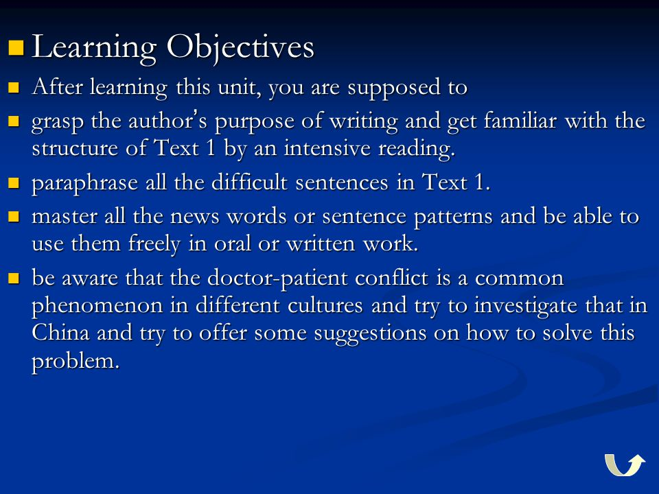 Learning Objectives Learning Objectives After learning this unit, you are supposed to After learning this unit, you are supposed to grasp the author ' s purpose of writing and get familiar with the structure of Text 1 by an intensive reading.