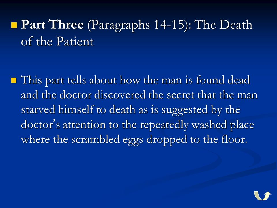 Part Three (Paragraphs 14-15): The Death of the Patient Part Three (Paragraphs 14-15): The Death of the Patient This part tells about how the man is found dead and the doctor discovered the secret that the man starved himself to death as is suggested by the doctor ' s attention to the repeatedly washed place where the scrambled eggs dropped to the floor.