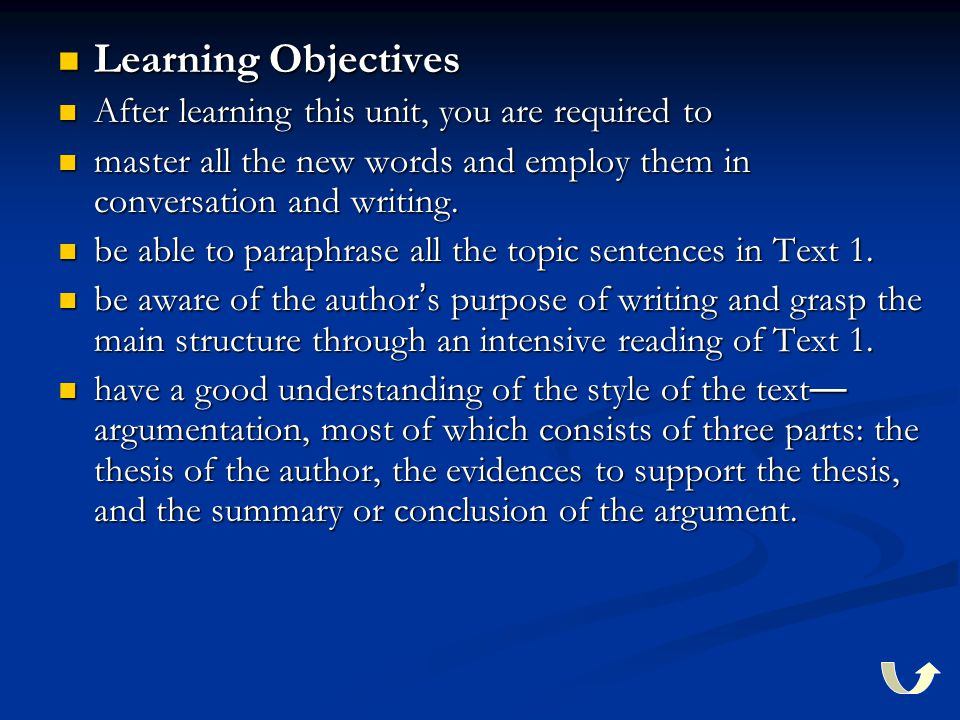 Learning Objectives Learning Objectives After learning this unit, you are required to After learning this unit, you are required to master all the new
