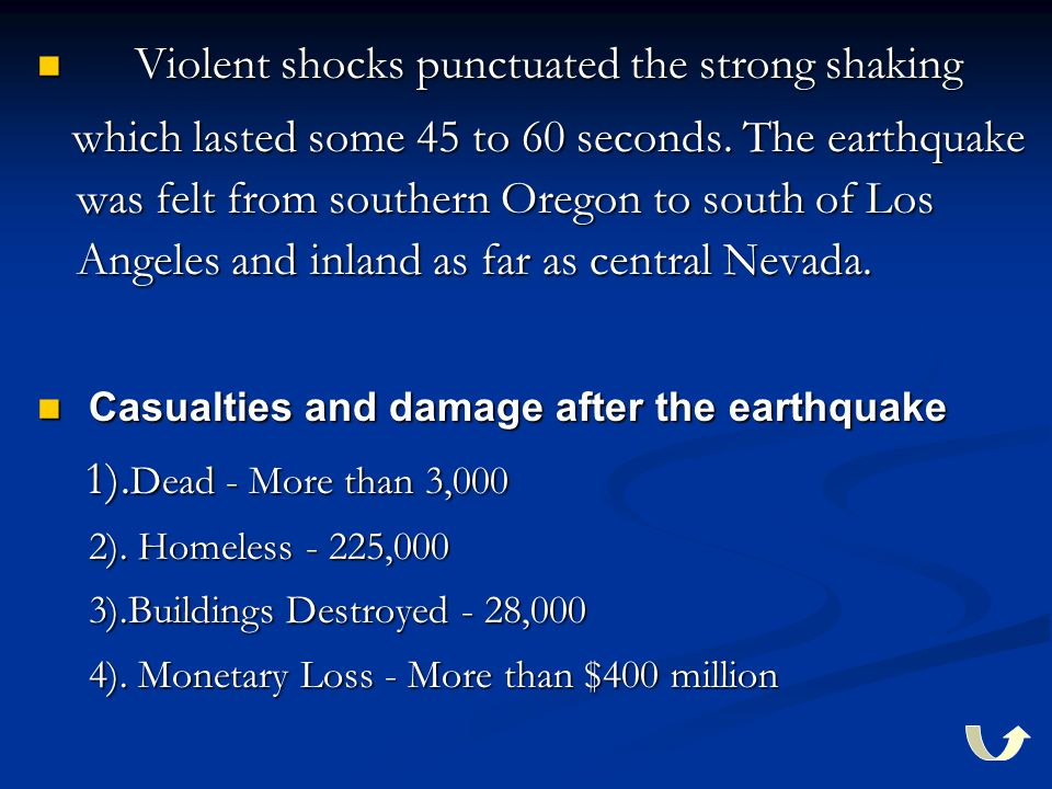 Violent shocks punctuated the strong shaking Violent shocks punctuated the strong shaking which lasted some 45 to 60 seconds. The earthquake was felt