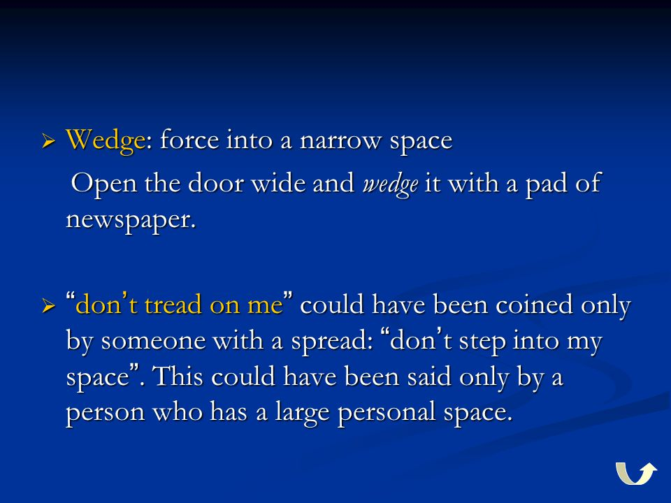  Wedge: force into a narrow space Open the door wide and wedge it with a pad of newspaper. Open the door wide and wedge it with a pad of newspaper. 