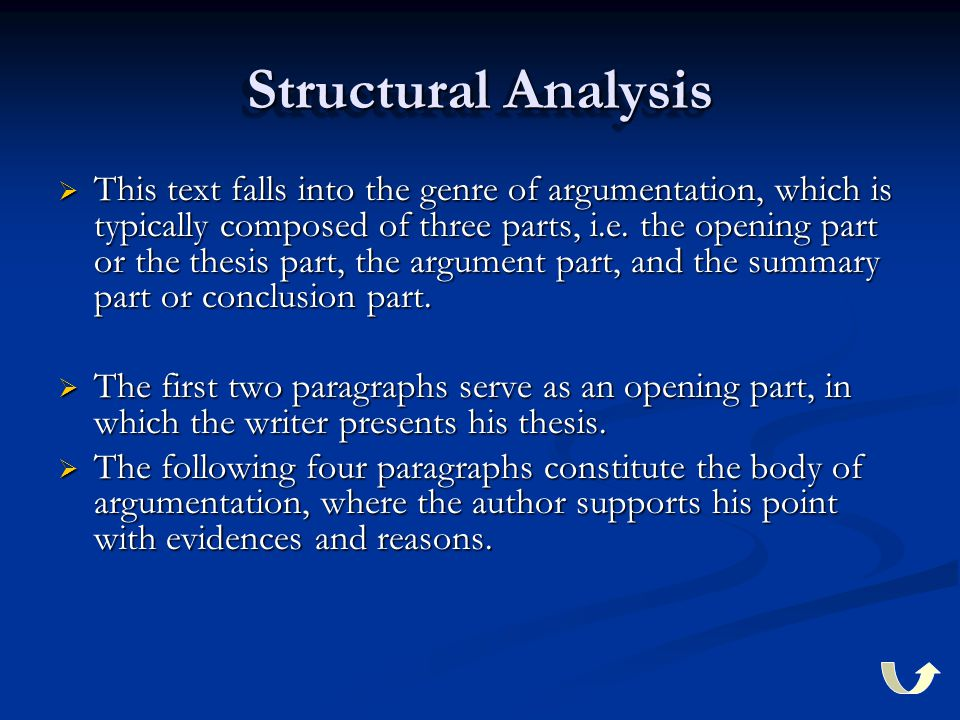 Structural Analysis  This text falls into the genre of argumentation, which is typically composed of three parts, i.e.