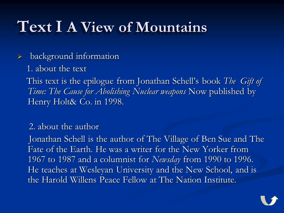 Text I A View of Mountains  background information 1.