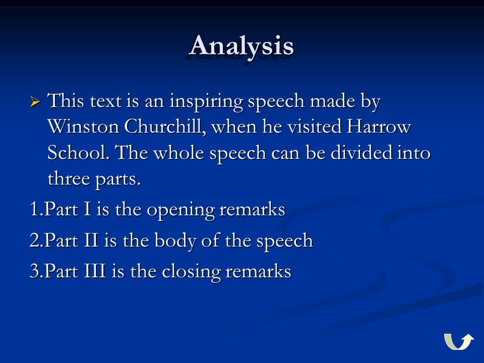 AnalysisAnalysis  This text is an inspiring speech made by Winston Churchill, when he visited Harrow School. The whole speech can be divided into thr