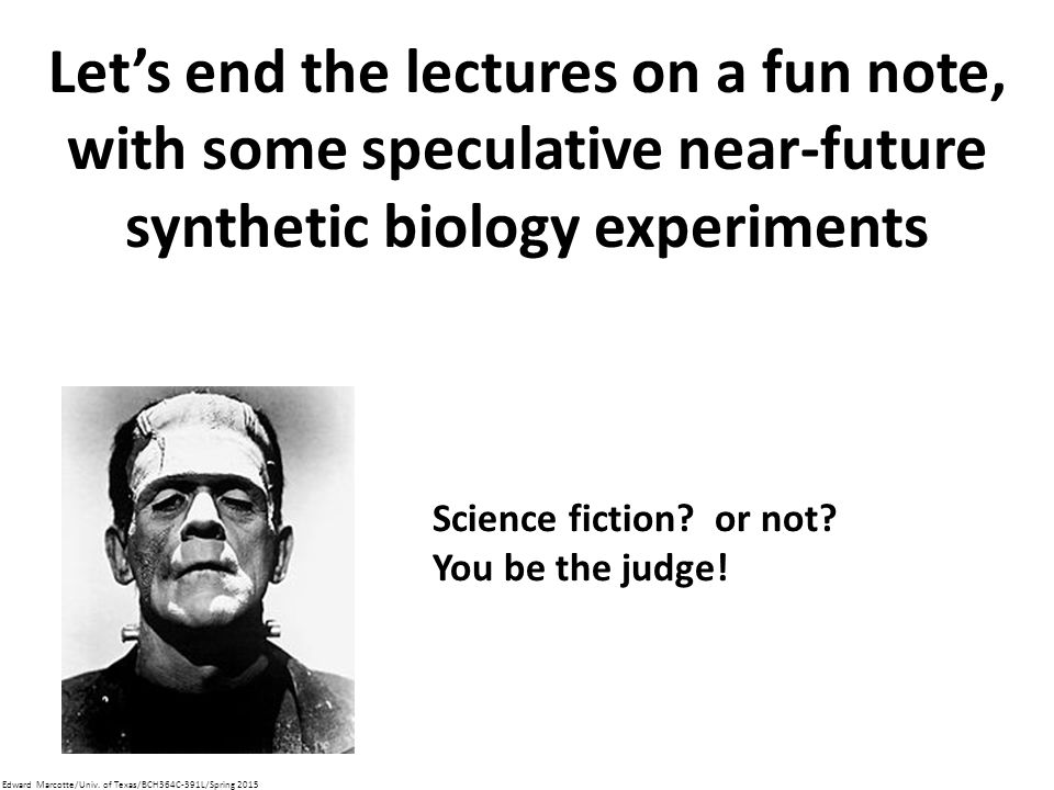 Let's end the lectures on a fun note, with some speculative near-future synthetic biology experiments Science fiction.