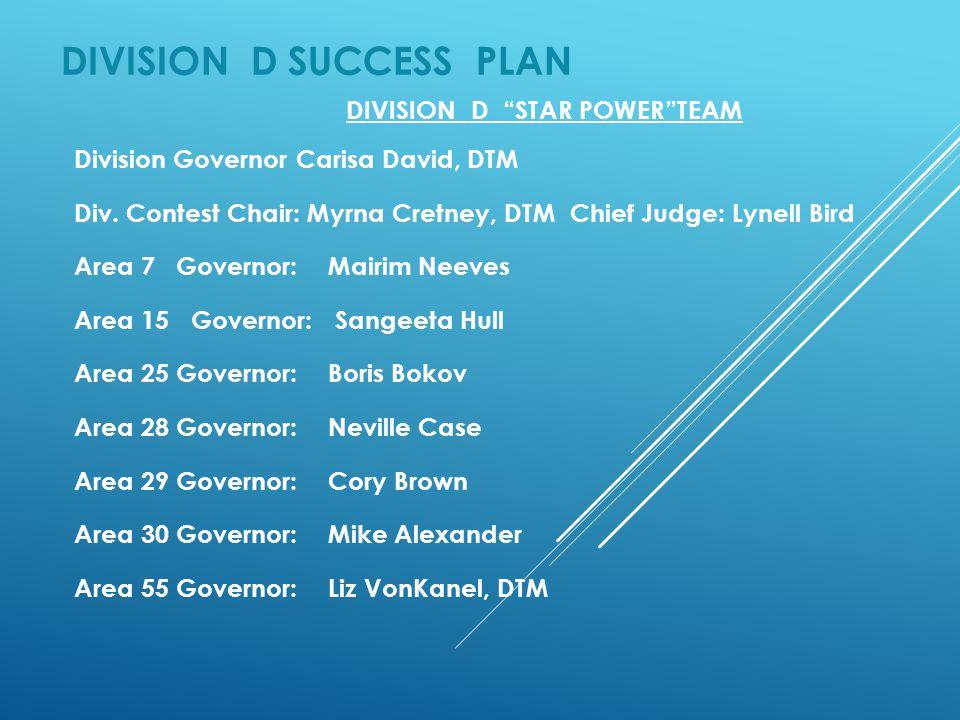 "DIVISION D SUCCESS PLAN DIVISION D ""STAR POWER""TEAM Division Governor Carisa David, DTM Div. Contest Chair: Myrna Cretney, DTM Chief Judge: Lynell Bir"