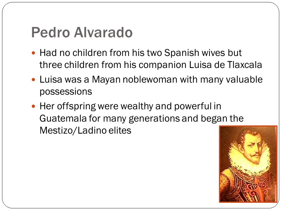 Pedro Alvarado Had no children from his two Spanish wives but three children from his companion Luisa de Tlaxcala Luisa was a Mayan noblewoman with many valuable possessions Her offspring were wealthy and powerful in Guatemala for many generations and began the Mestizo/Ladino elites