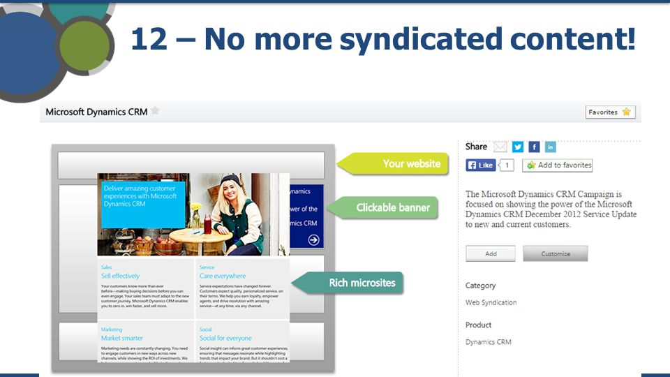 12 – No more syndicated content!