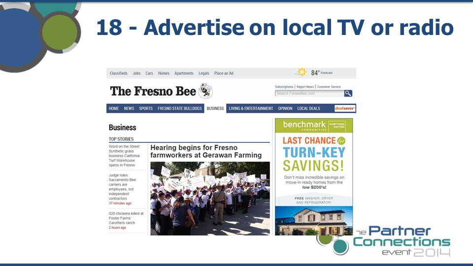 18 - Advertise on local TV or radio