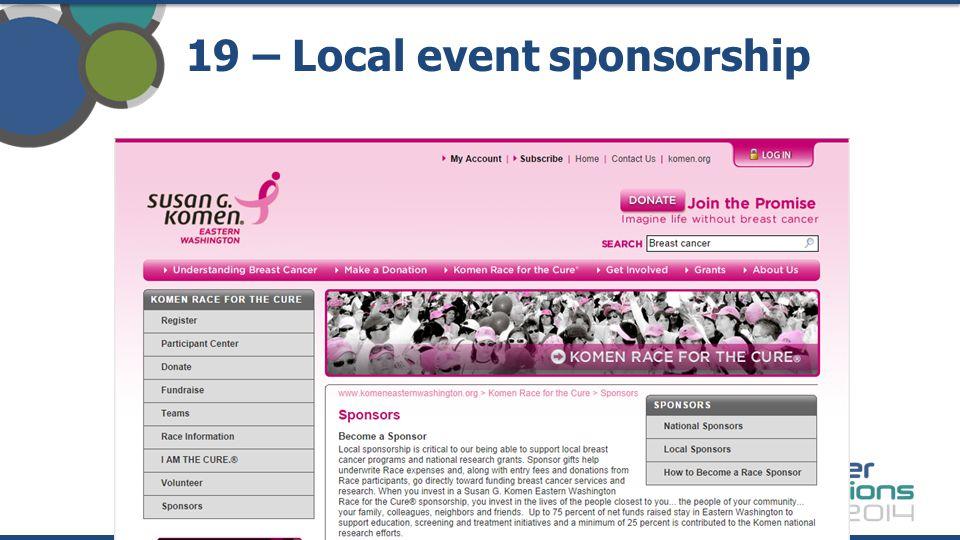19 – Local event sponsorship