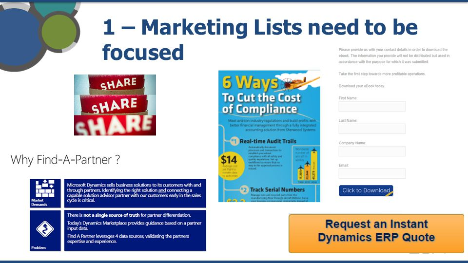 1 – Marketing Lists need to be focused