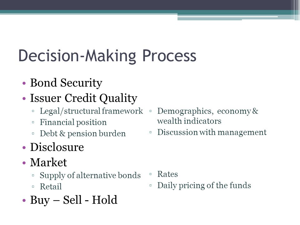 Decision-Making Process Bond Security Issuer Credit Quality ▫Legal/structural framework ▫Financial position ▫Debt & pension burden Disclosure Market ▫Supply of alternative bonds ▫Retail Buy – Sell - Hold Bond Security Issuer Credit Quality ▫Demographics, economy & wealth indicators ▫Discussion with management Disclosure Market ▫Rates ▫Daily pricing of the funds Buy – Sell - Hold