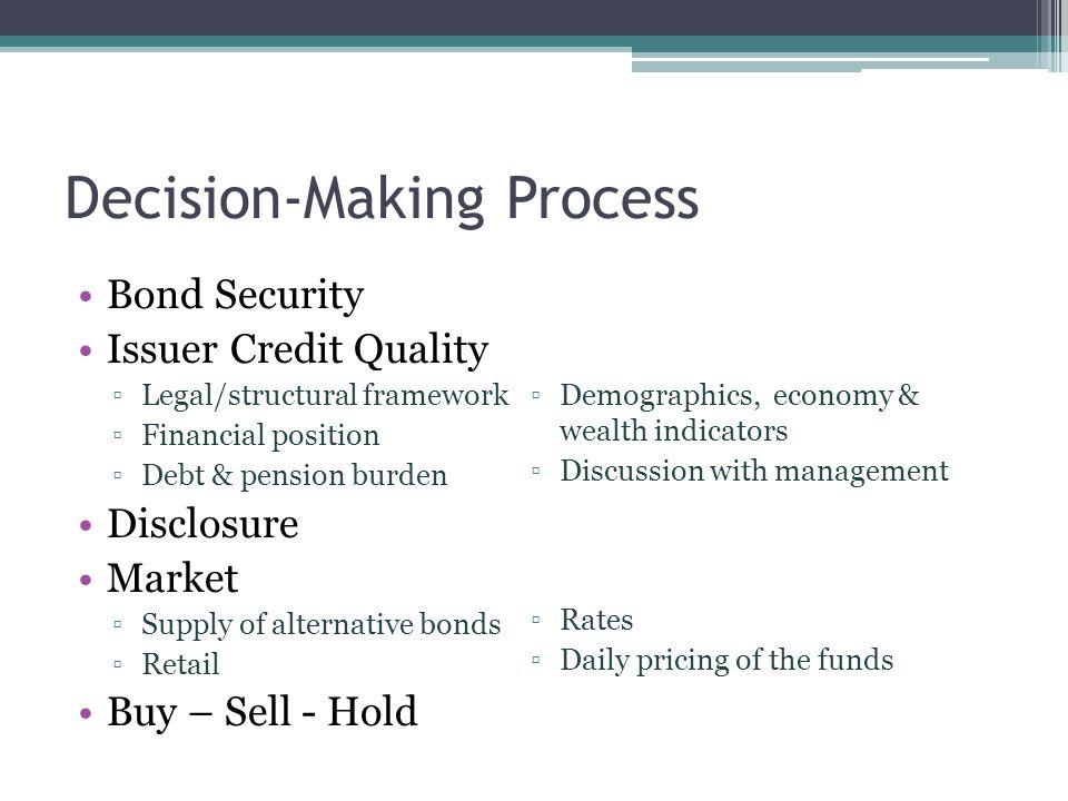 Decision-Making Process Bond Security Issuer Credit Quality ▫Legal/structural framework ▫Financial position ▫Debt & pension burden Disclosure Market ▫