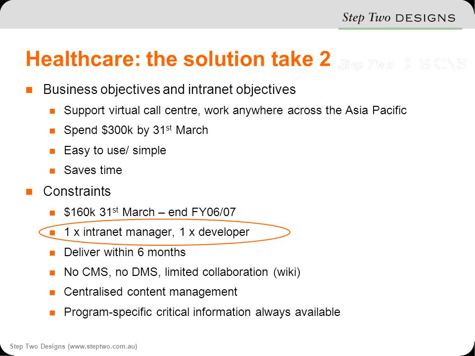 Step Two Designs (www.steptwo.com.au) Healthcare: the solution take 2 Business objectives and intranet objectives Support virtual call centre, work anywhere across the Asia Pacific Spend $300k by 31 st March Easy to use/ simple Saves time Constraints $160k 31 st March – end FY06/07 1 x intranet manager, 1 x developer Deliver within 6 months No CMS, no DMS, limited collaboration (wiki) Centralised content management Program-specific critical information always available